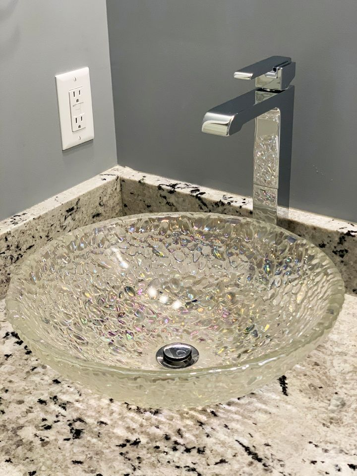 new installation remodel glass sink